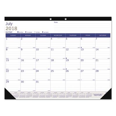 Academic Desk Pad Calendar, 22 x 17, White/Blue/Gray, 2018-2019