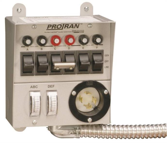 Reliance 30216A Manual Transfer Switch, 125/250 V, 60 A, 7500 W, Gray