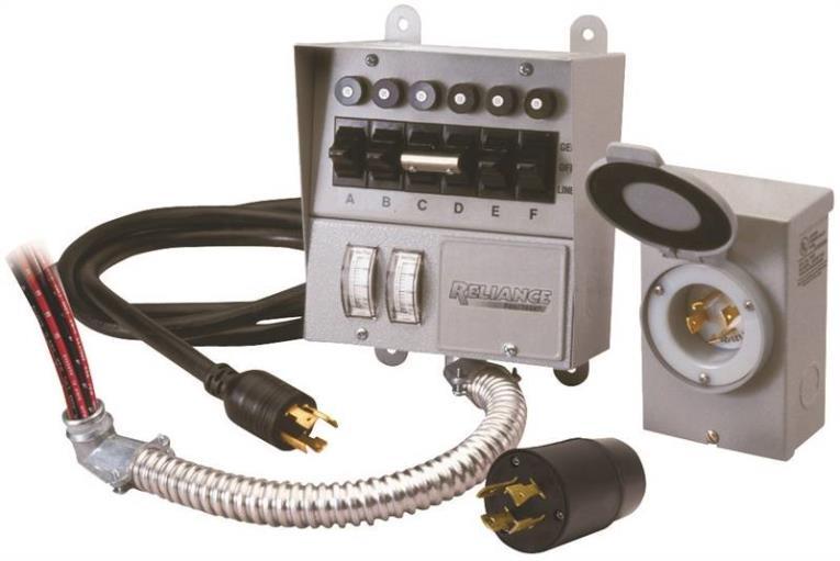 Coghlan'S 31406CRK Manual Transfer Switch Kit, 125/250 V, 60 A, 7500 W, Gray