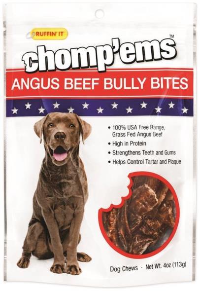 Rhode Island 75295 Ruffin?It ? Chomp?Ems Dog Chews, Bully Bites, 4 Oz
