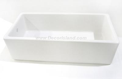 36 X 18 0 Hole Single Band Fireclay Apron SINK *SHAW White