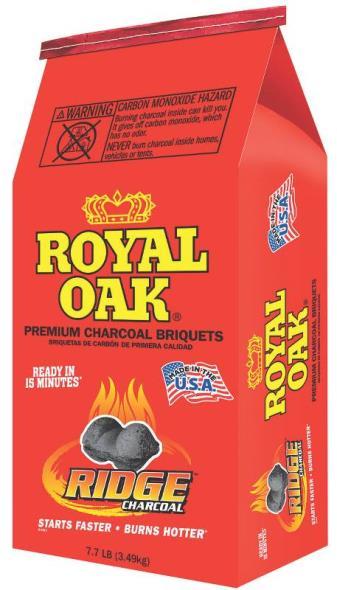Royal Oak 192-294-107 Charcoal Briquette, 7.7 lb Bag, Opaque Black, Solid