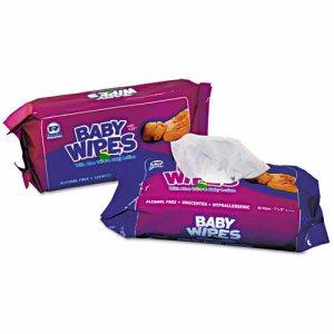 Baby Wipes Refill Pack, White, 80/Pack, 12 Packs/Carton