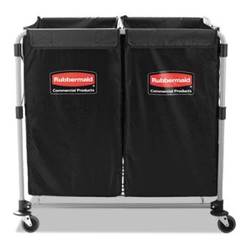 Collapsible X-Cart, Steel, 2 to 4 Bushel Cart, 24 1/10w x 35 7/10d, Black/Silver