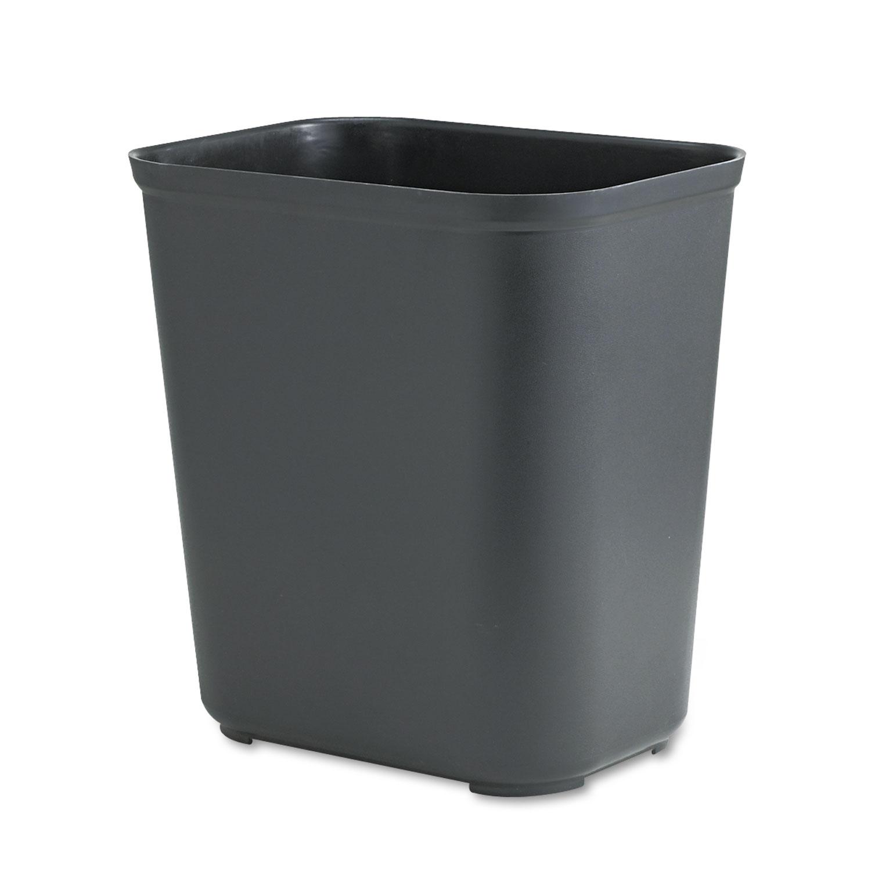 Fire-Resistant Wastebasket, Rectangular, Fiberglass, 7gal, Black
