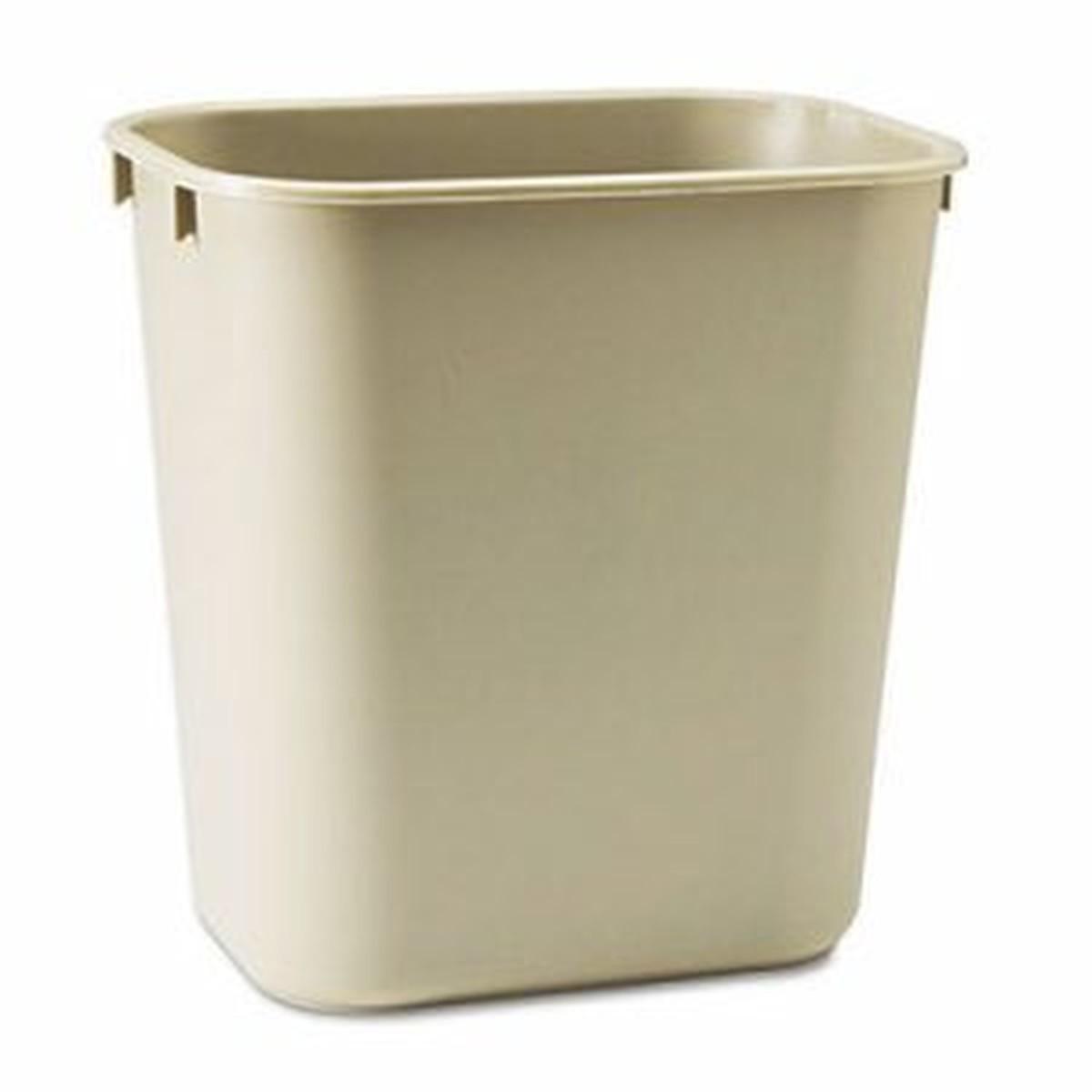 Deskside Plastic Wastebasket, Rectangular, 3 1/2 gal, Beige