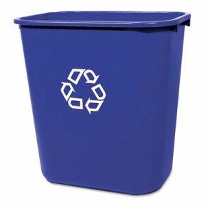 Medium Deskside Recycling Container, Rectangular, Plastic, 28.125qt, Blue