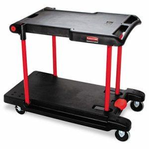 Convertible Utility Cart, Two-Shelf, 23 7/8w x 45 1/8d x 34 3/8h, Black