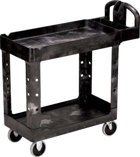 Heavy-Duty Utility Cart, Two-Shelf, 17-1/8w x 38-1/2d x 38-7/8h, Black