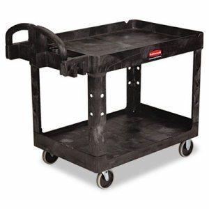 Heavy-Duty Utility Cart, Two-Shelf, 25-1/4w x 44d x 39h, Black