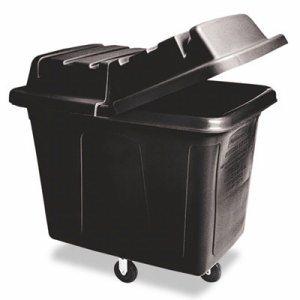Metal Frame Cube Truck, Rectangular, Polyethylene, 400lb Cap, 12 cu. ft., Black