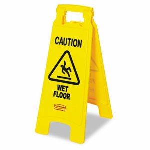 Caution Wet Floor Floor Sign, Plastic, 11 x 1 1/2 x 26, Bright Yellow