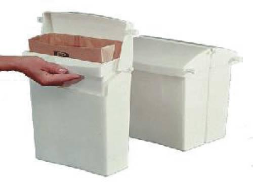 Sanitary Napkin Receptacle with Rigid Liner, Rectangular, Plastic, White