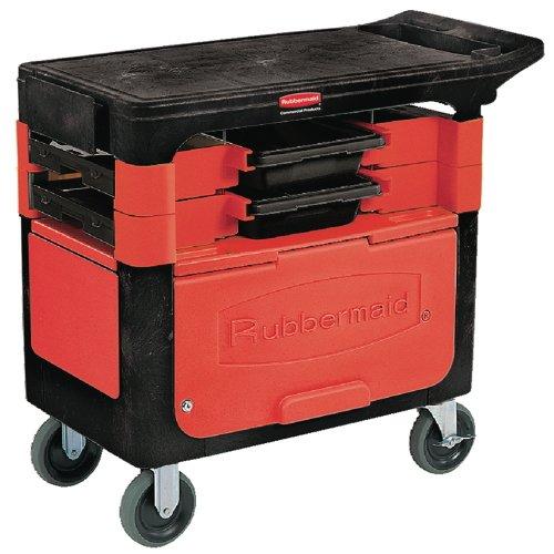 Locking Trades Cart, 330-lb Cap, Two-Shelf, 19-1/4w x 38d x 33-3/8h, Black