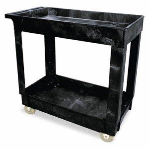Service/Utility Cart, Two-Shelf, 17w x 38d x 31h, Black