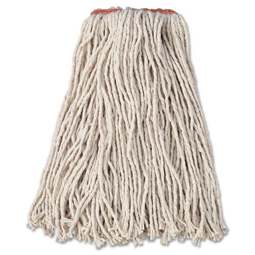 "Premium Cut-End Cotton Wet Mop Head, 16oz, White, 1"" Orange Band, 12/Carton"