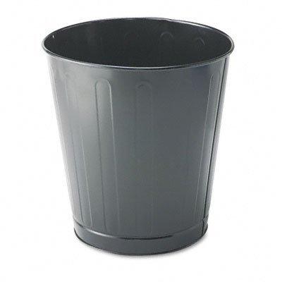 Fire-Safe Wastebasket, Round, Steel, 6 1/2 gal, Gray