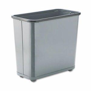 Fire-Safe Wastebasket, Rectangular, Steel, 7.5gal, Gray