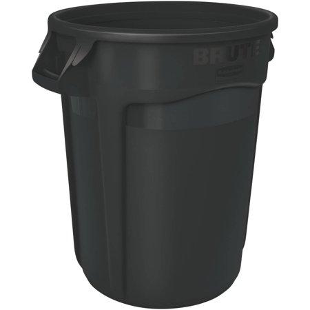 Round Brute Container, Executive Series, Plastic, 32 gal, Black, 6/Carton