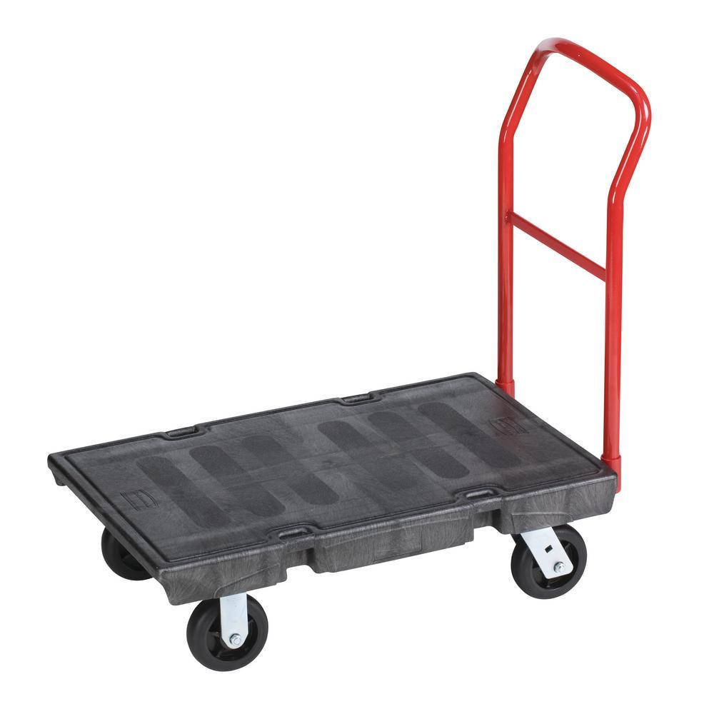 "Heavy-Duty Platform Truck Cart, 500 lb Capacity, 24"" x 36"" Platform, Black"