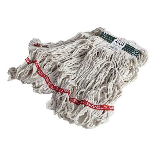 Swinger Loop Wet Mop Heads, Cotton/Synthetic, White, Medium, 6/Carton
