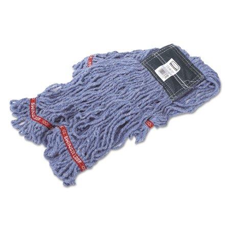 Swinger Loop Shrinkless Mop Heads, Cotton/Synthetic, Blue, Medium
