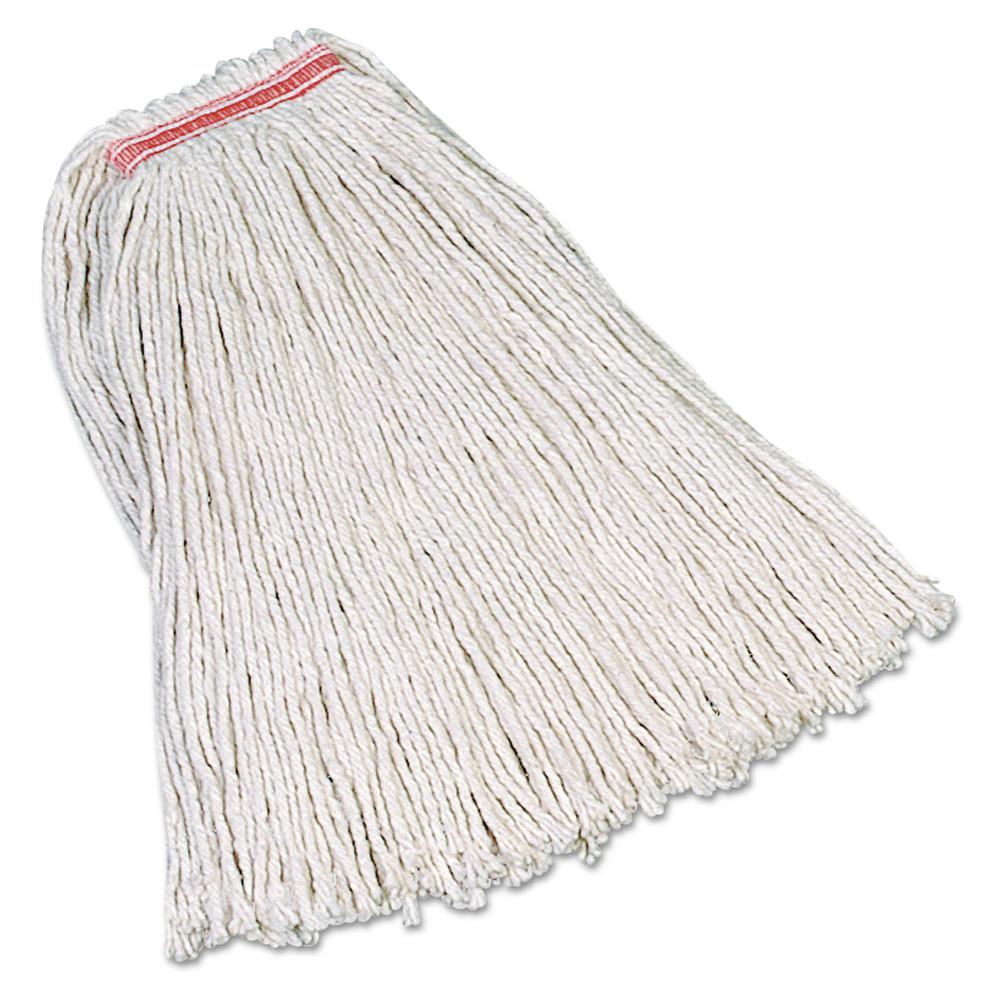 Premium Cut-End Cotton Mop, White, 20 oz, 1-in. Orange Headband