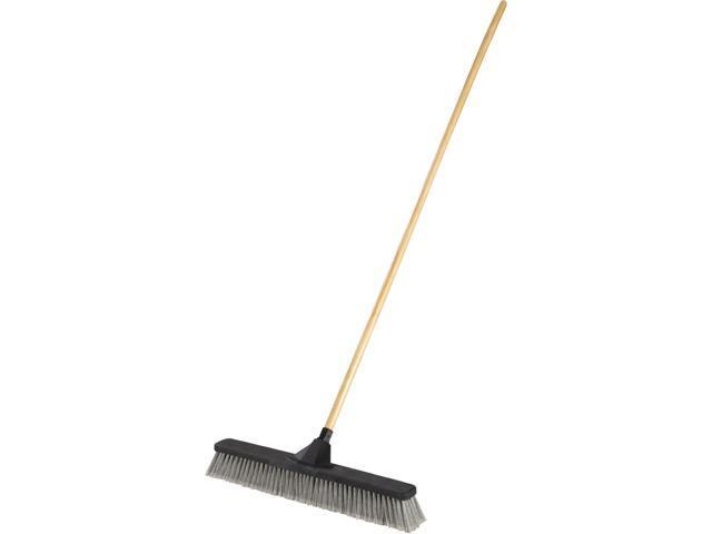 "Push Brooms, 24"" Brush, PET Bristles, For Fine Debris, 62"" Wood Handle, Black"