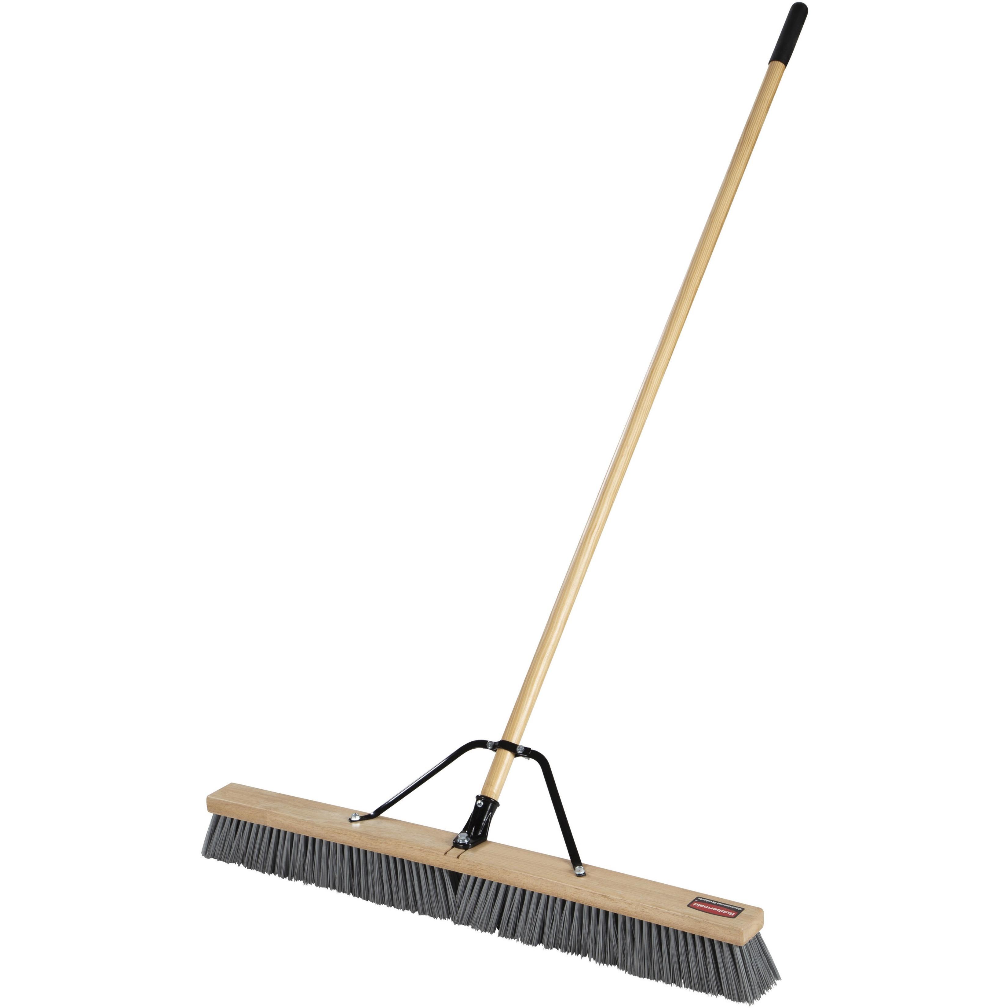"Push Brooms, 36"" Brush, PP Bristles, For Rough Floor Surfaces, 62"" Wood Handle, Natural"