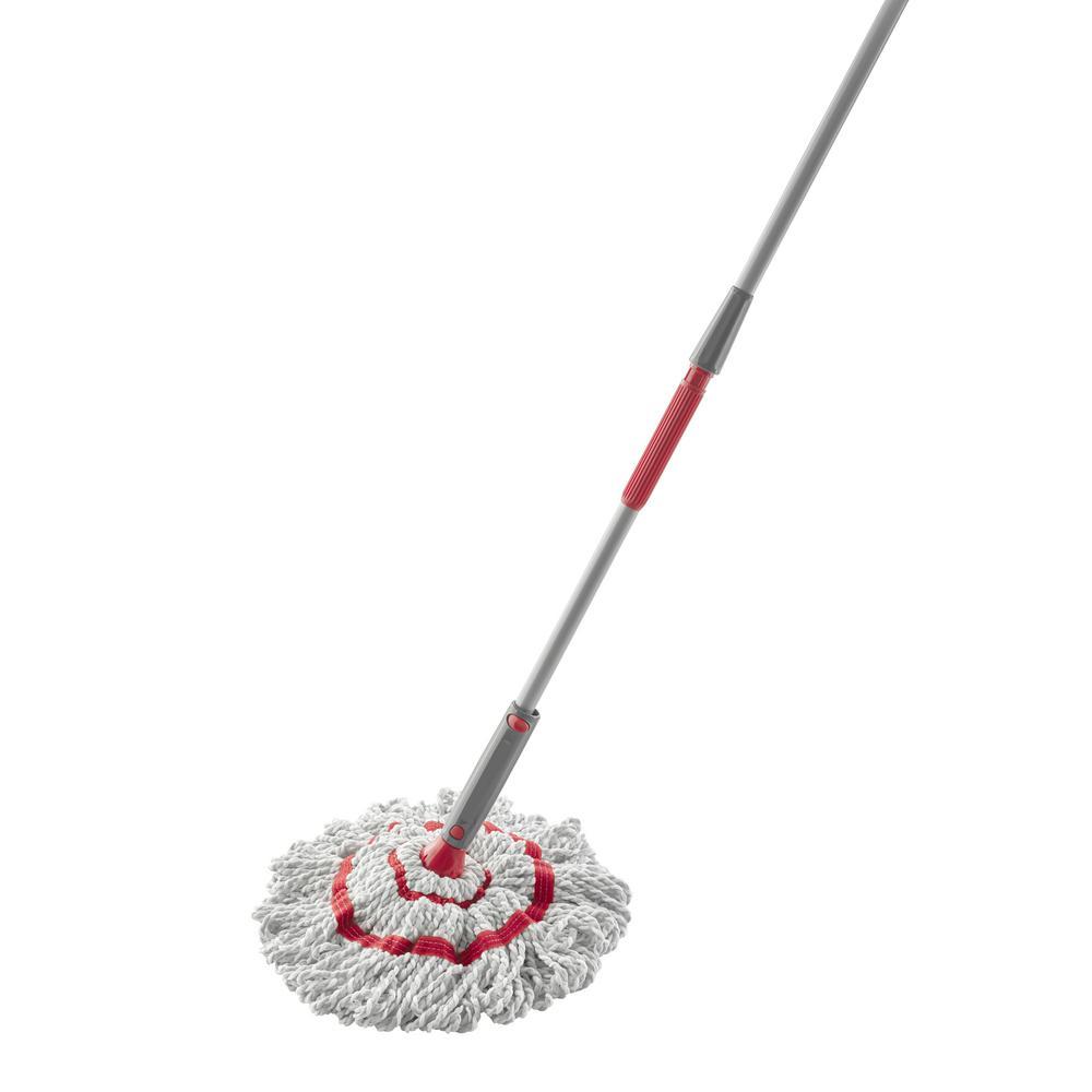 "Microfiber Twist Mop, 16"" Wide White Microfiber Head, 4.5 ft Gray/Red Plastic Handle"