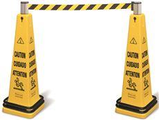 Multilingual Floor Cone Barricade System, 12.25 x 12.25 x 39.75, Yellow/Black