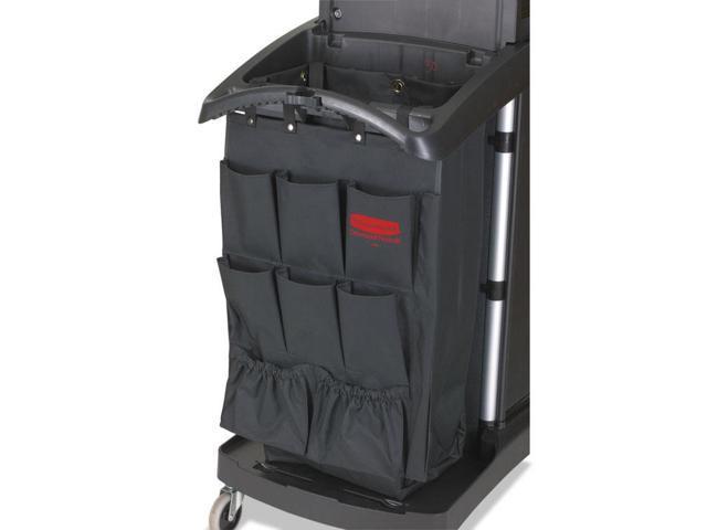 Fabric 9-Pocket Cart Organizer, 19.75 x 1.5 x 28, Black