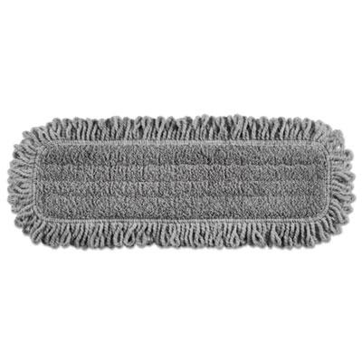 "Pulse Executive Single-Sided Microfiber Dust Mop Head, 18"", Light Gray"