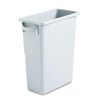 Slim Jim Waste Container w/Handles, Rectangular, Plastic, 15.875gal, Light Gray