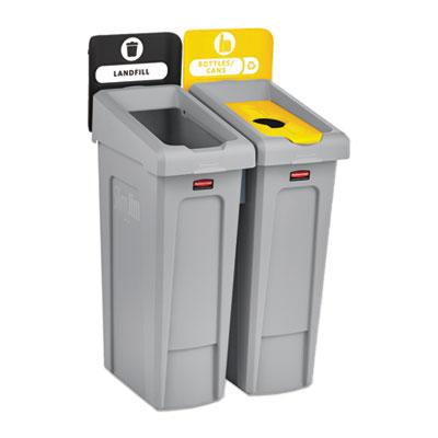 Slim Jim Recycling Station Kit, 46 gal, 2-Stream Landfill/Bottles/Cans