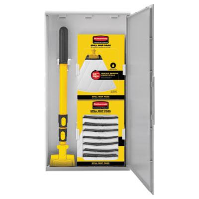 "Spill Mop Storage Cabinet, 15""w x 6""d x 27.5""h, Gray"