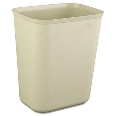 Fire-Resistant Wastebasket, Rectangular, Fiberglass, 1.75gal, Beige