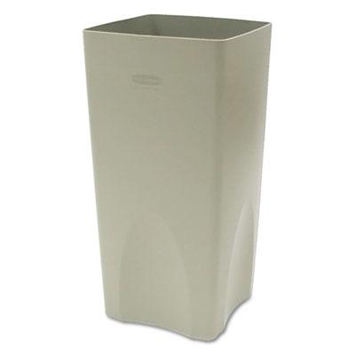 Plaza Waste Container Rigid Liner, Square, Plastic, 19gal, Beige