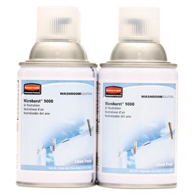 Microburst 9000 Air Freshener Refill, Linen Fresh, 5.3oz, Aerosol, 4/Carton