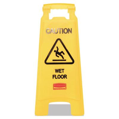 Caution Wet Floor Floor Sign, Plastic, 11 x 1 1/2 x 26, Bright Yellow, 6/Carton