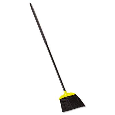 """Jumbo Smooth Sweep Angled Broom, 46"""" Handle, Black/Yellow, 6/Carton"""