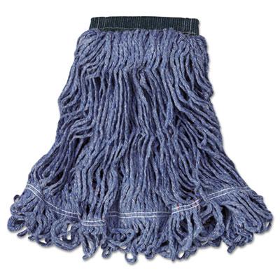 Swinger Loop Wet Mop Head, Medium, Cotton/Synthetic, Blue, 6/Carton