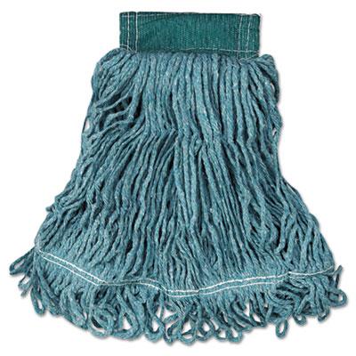 Super Stitch Blend Mop Head, Medium, Cotton/Synthetic, Green, 6/Carton