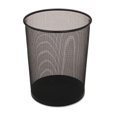 Steel Mesh Wastebasket, Round, 5gal, Black, 6/Carton