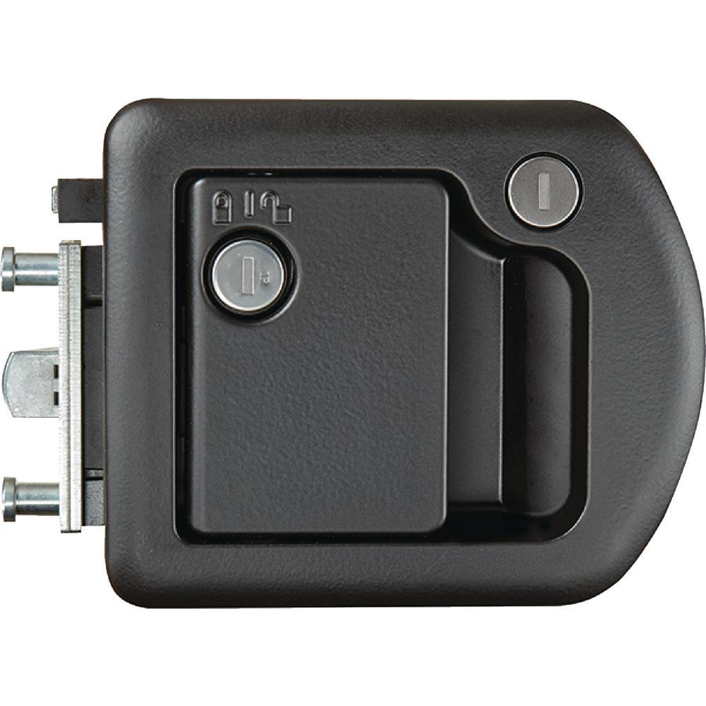 MOTORHOME ENTRANCE DOOR LOCK, BLACK, WITH DEADBOLT (TRIMARK 060-1650)