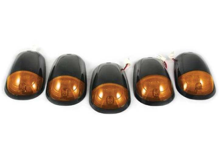 03-14 RAM 2500HD/3500HD CAB LIGHTS AMBER LENS BLACK BASE AMBER LED BULBS W/WIRING (5PC)