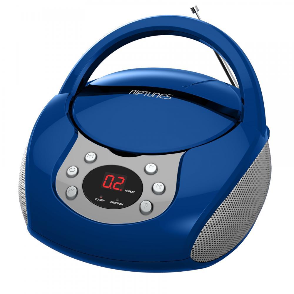 RIPTUNES CD BOOMBOX W/ AM/FM RADIO, BLUE