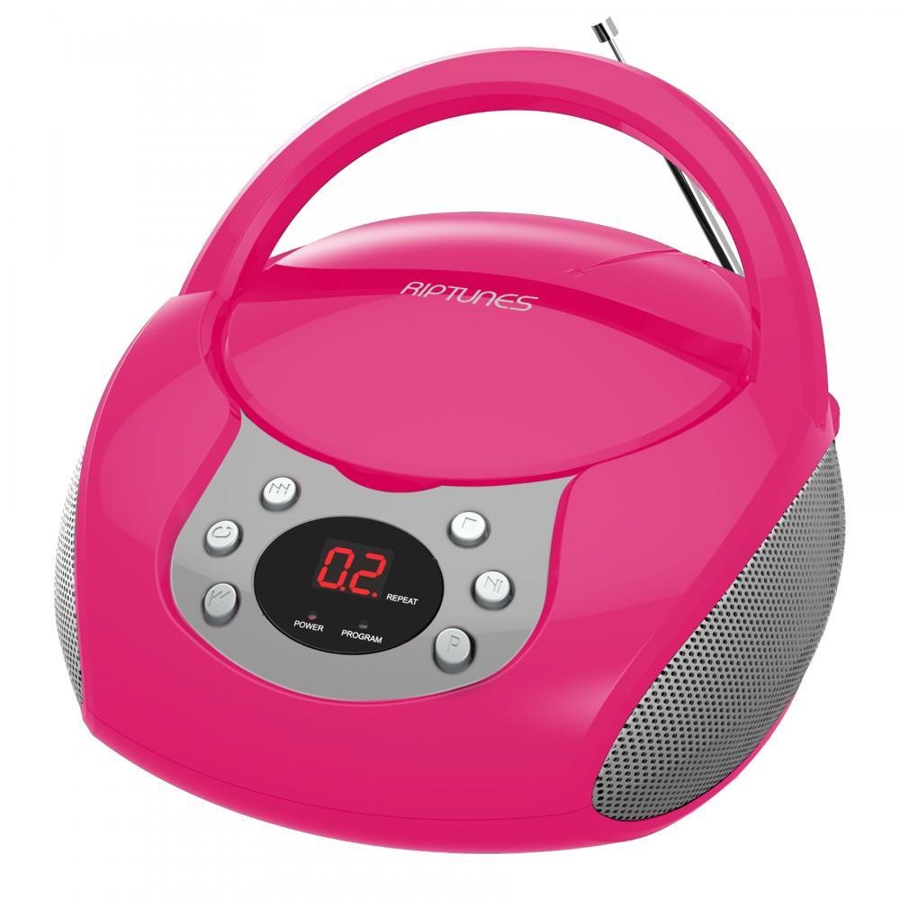 RIPTUNES CD BOOMBOX W/ AM/FM RADIO, PINK