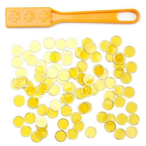 Yellow Magnetic Bingo Wand with 100 Metallic Bingo Chips