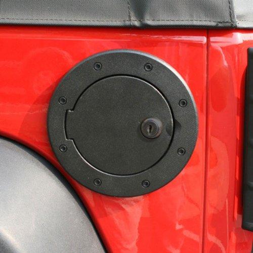 Locking Gas Cap Door, Black Aluminum; 07-16 Jeep Wrangler JK